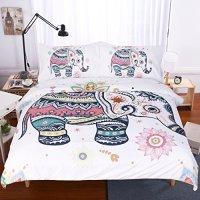 Sleepwish 3 Piece Rainbow Mandala Elephant Duvet Cover Set Bohemian Elephant Pastel Floral Comforter Set Hippie Gypsy Bedding Boho Bedspread (Twin)
