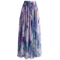 LISTONE Woman's summer beach flower print high waist fold chiffon long Maxi skirt