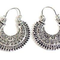 Bohemian Filigree Hoop Earrings Antique Silver Tone Hoop Earrings 1.5 inch