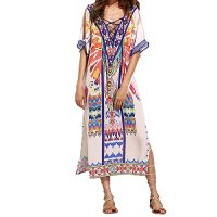 Susanny Women's Summer Milk Silk Floral Print Beach Loose Long Boho Bohemian Maxi Dress