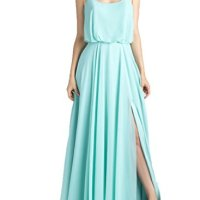 Kevins Bridal Chiffon Prom Dresses Spaghettis Straps Long Boho Summer Party Gown