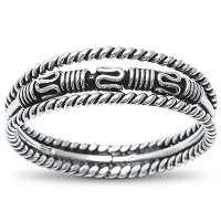 Sterling Silver Unique Bali Design Three Band Ring Sizes 5-10