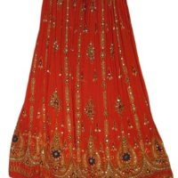 Yoga Trendz Women's Sequined Crinkle Broomstick Gypsy Long Skirt
