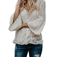 Faisean Womens Boho Blouses Lace V-Neck Flare Sleeve Crochet Hollow Out Button Down Tops