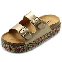 Ollio Women's Shoe Slip On Boho Two Strap Platform Espadrilles Cork Sandals