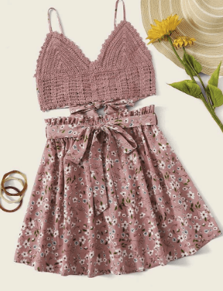 adorable pink dress set to wear in the keys
