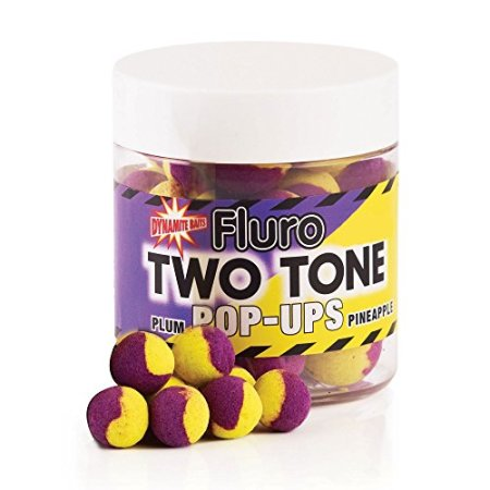 Dynamite Baits Plum- Pineapple Fluro Two Tone Pop- Up Boilies 15mm - 1