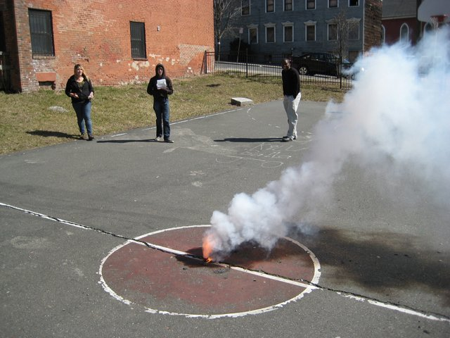 Smoke bomb ingredient: potassium nitrate (aka saltpeter