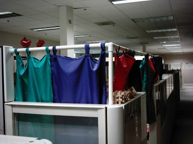 Diy cubicle privacy boing boing for Cubicle privacy ideas