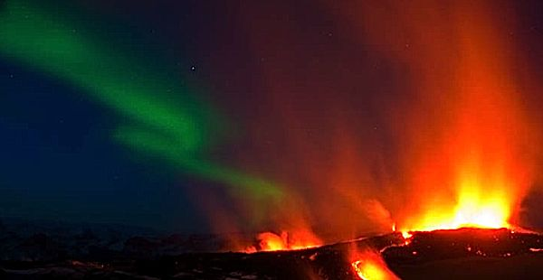 Northern Lights And Volcano