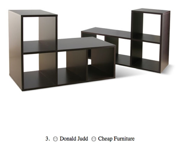 Quiz donald judd or cheap furniture boing boing for Minimal art judd