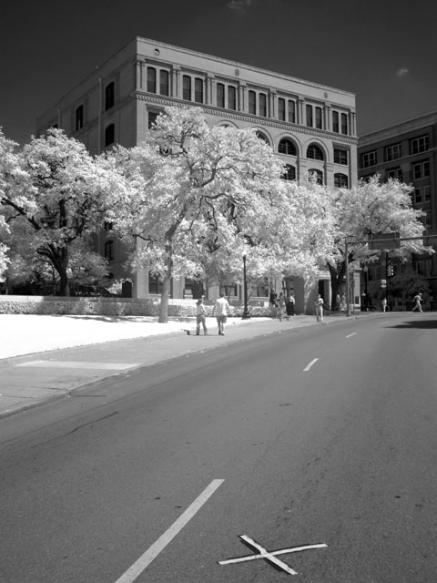 Kennedy assassination site in infra-red