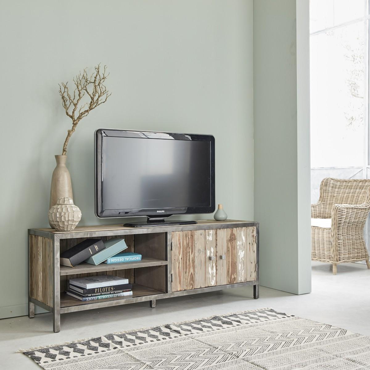 Meuble TV En Bois De Pin Recycl Et Mtal 150 VINTAGE
