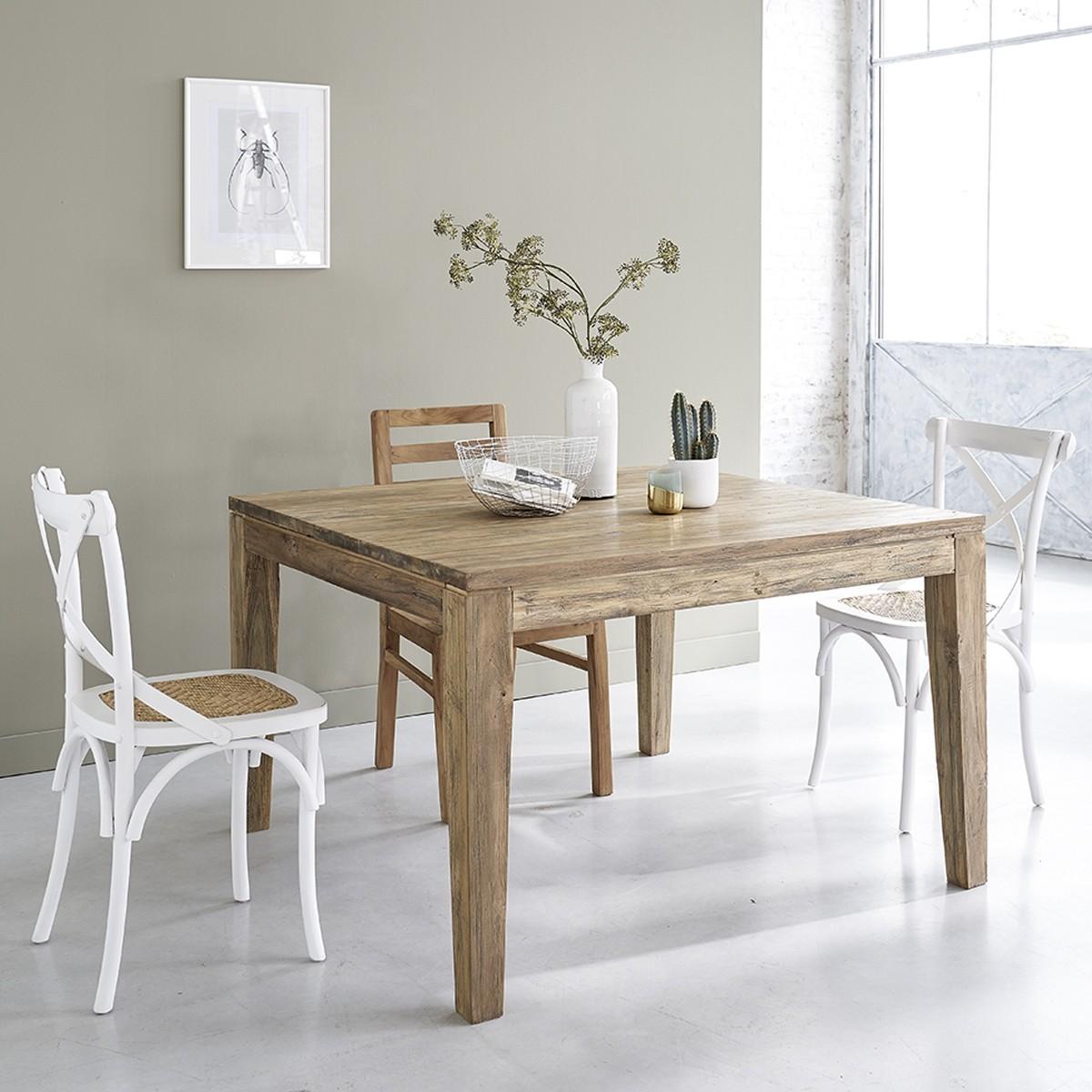 table extensible en bois de teck recycle carree 10 personnes cargo