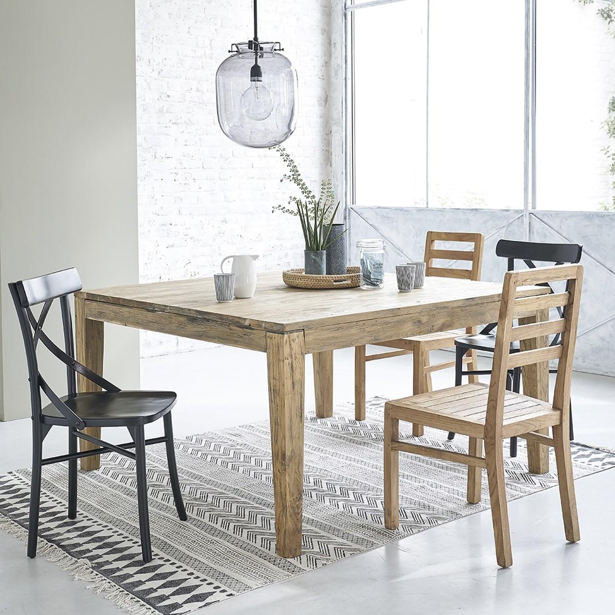 table extensible en bois de teck recycle carree 12 personnes cargo