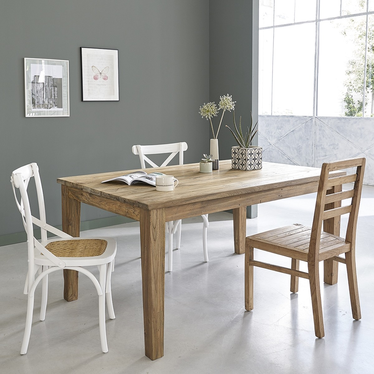 table extensible en bois de teck recycle 10 personnes cargo
