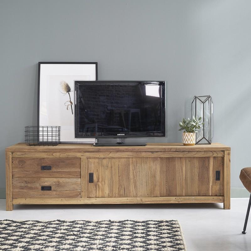 meuble tv en bois de teck recycle cargo 180 cm