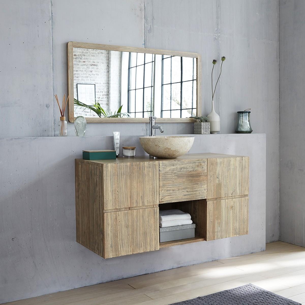 meuble de salle de bain suspendu en bois d hevea 120 malo