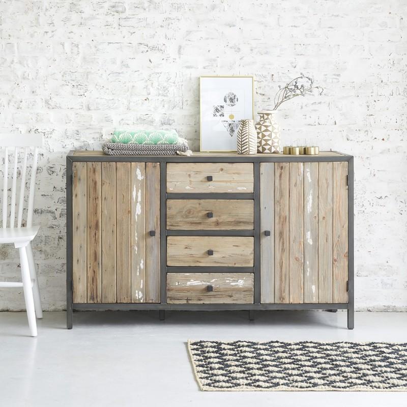 commode en bois de pin recycle et metal vintage 150 cm