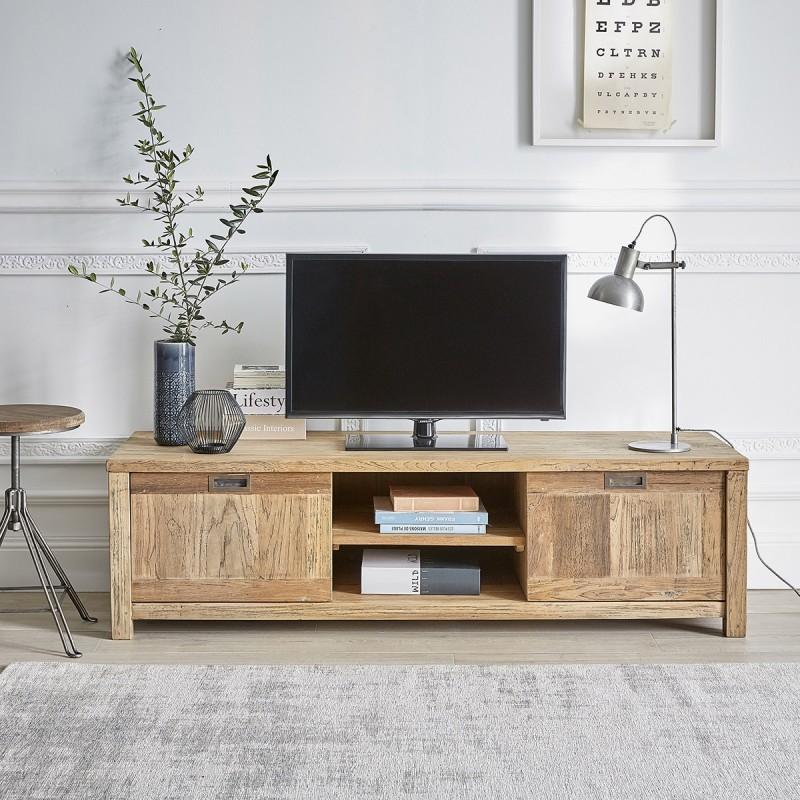meuble tv en bois de teck recycle 160 cargo