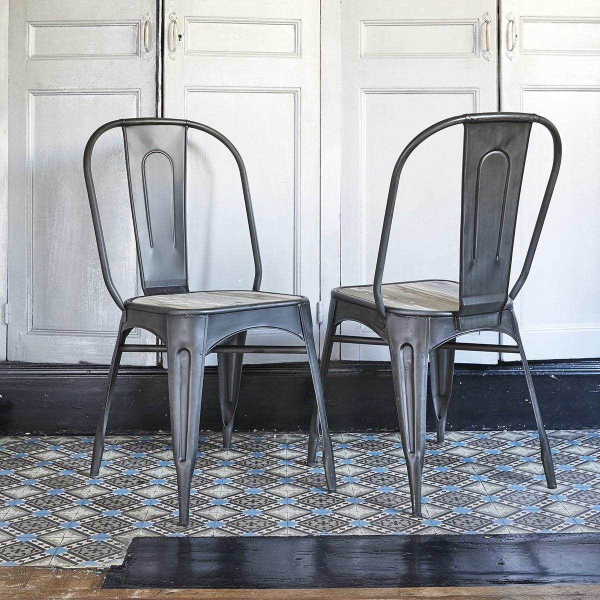 lot de 2 chaises en metal brosse et pin recycle indus