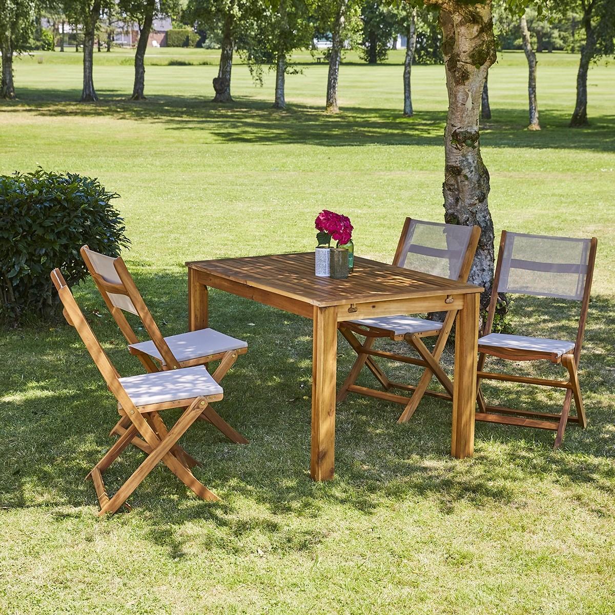 salon de jardin extensible en bois d acacia gris 4 8 places hanoi