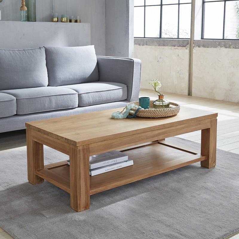 table basse rectangulaire en teck brut 120 boston