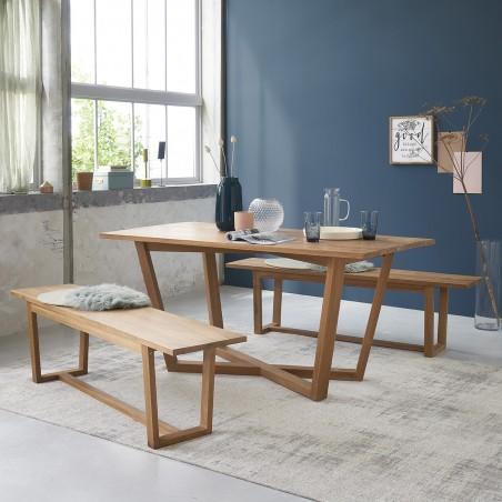 ensemble table et bancs en bois de teck