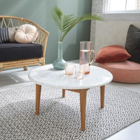 table basse ronde en marbre blanc et