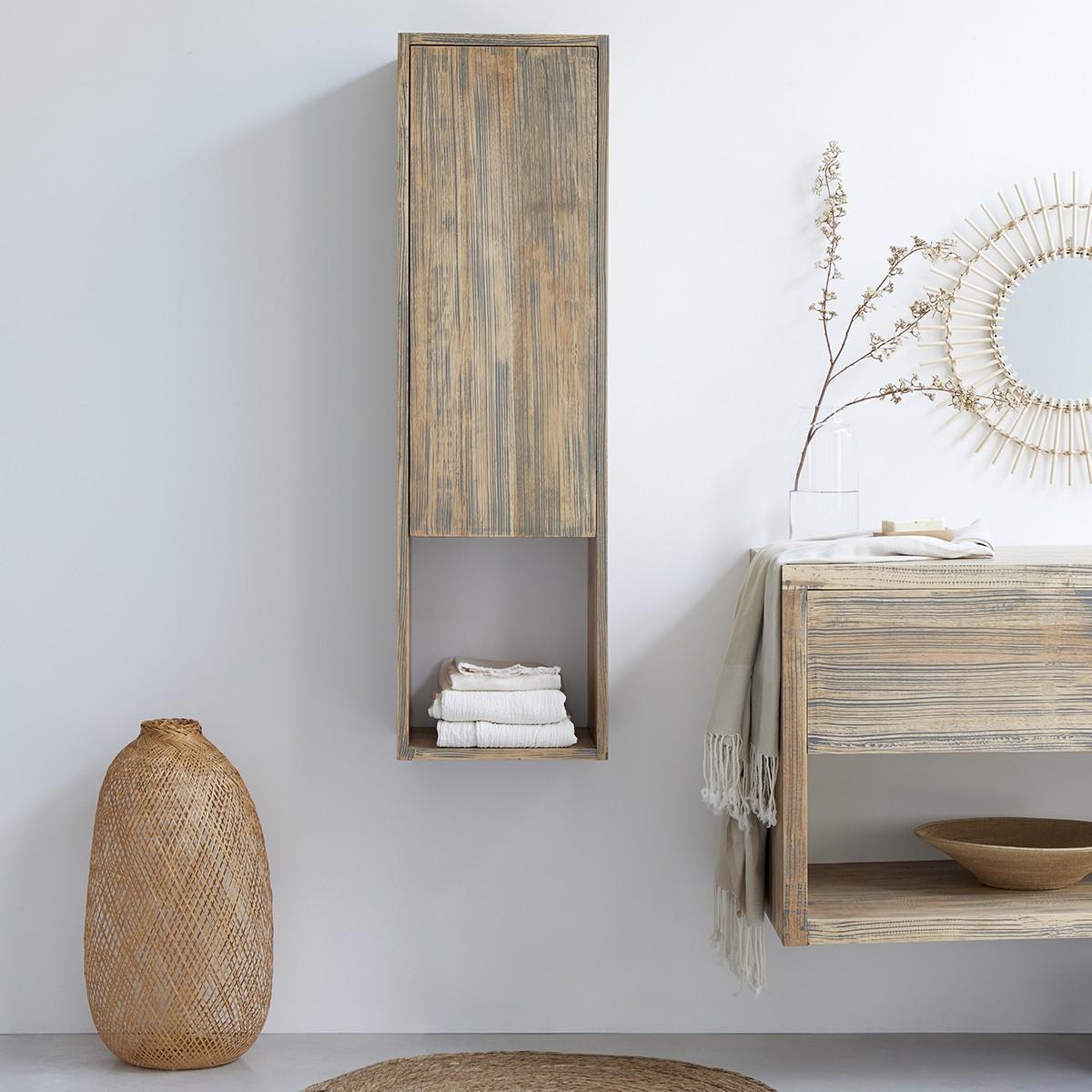 colonne de salle de bain suspendue en bois d hevea 120