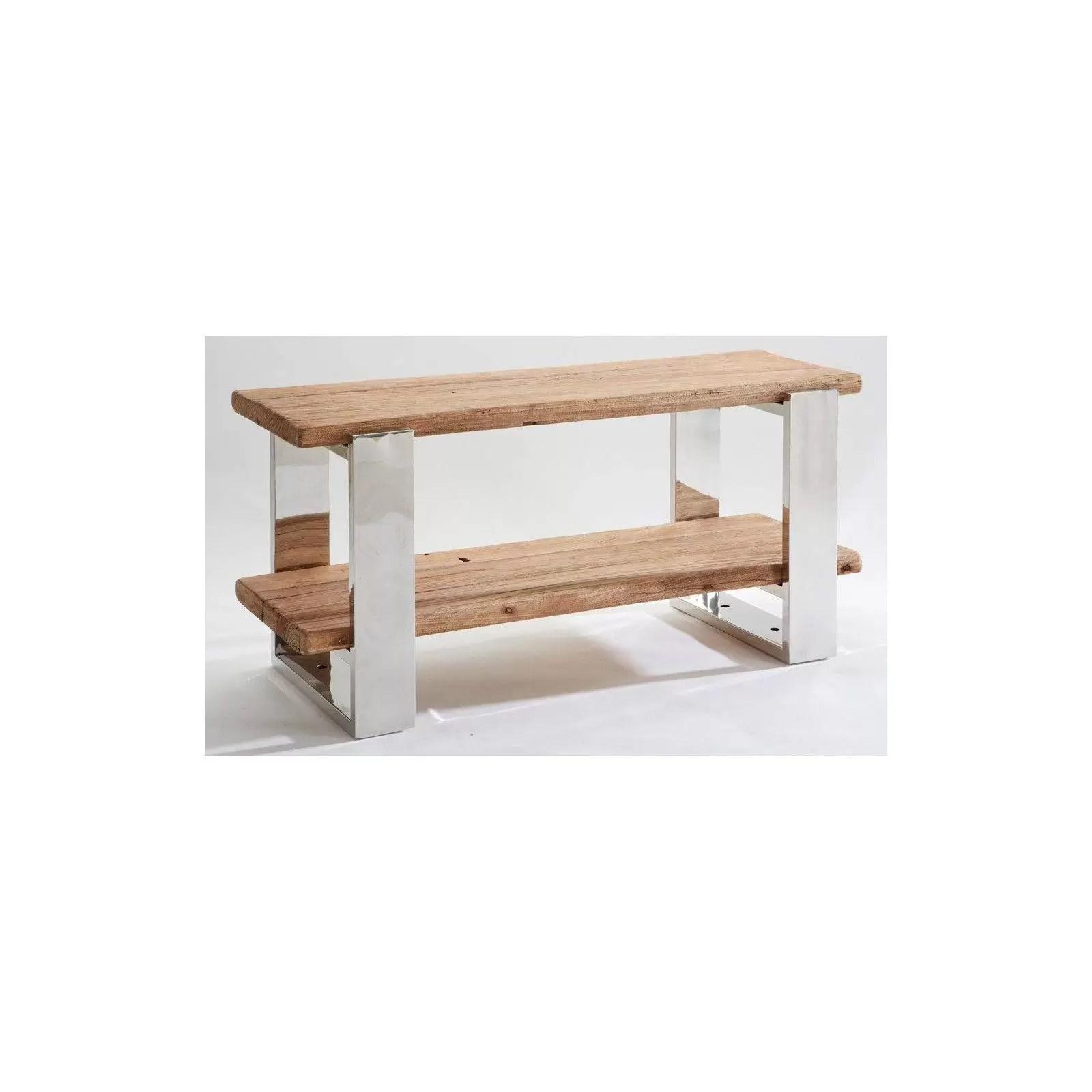meuble tv stainless ethnique chic en bois et metal 120cm bois et chiffons