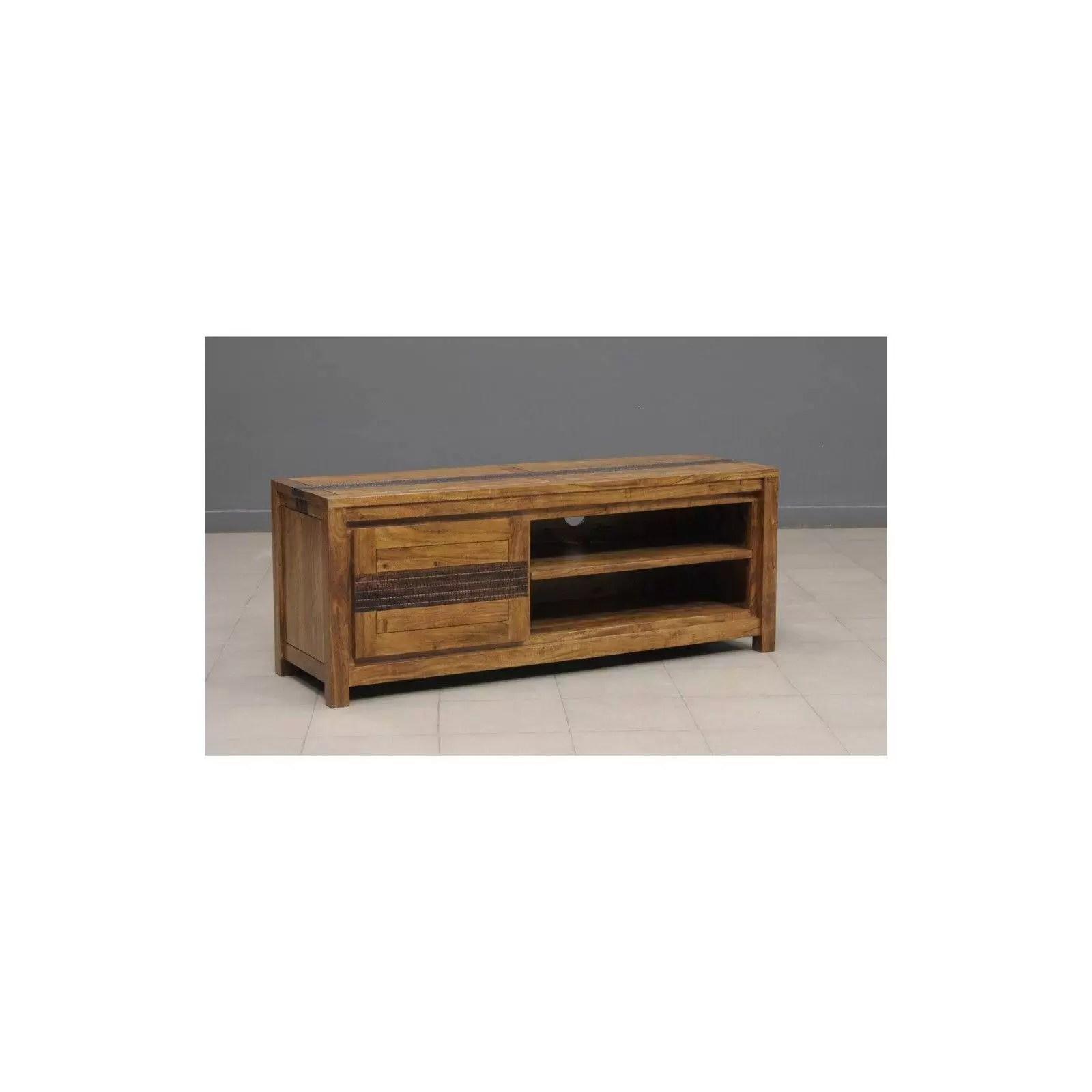meuble tv tatoo haut de gamme en bois d acacia massif 1 porte et 2 niches