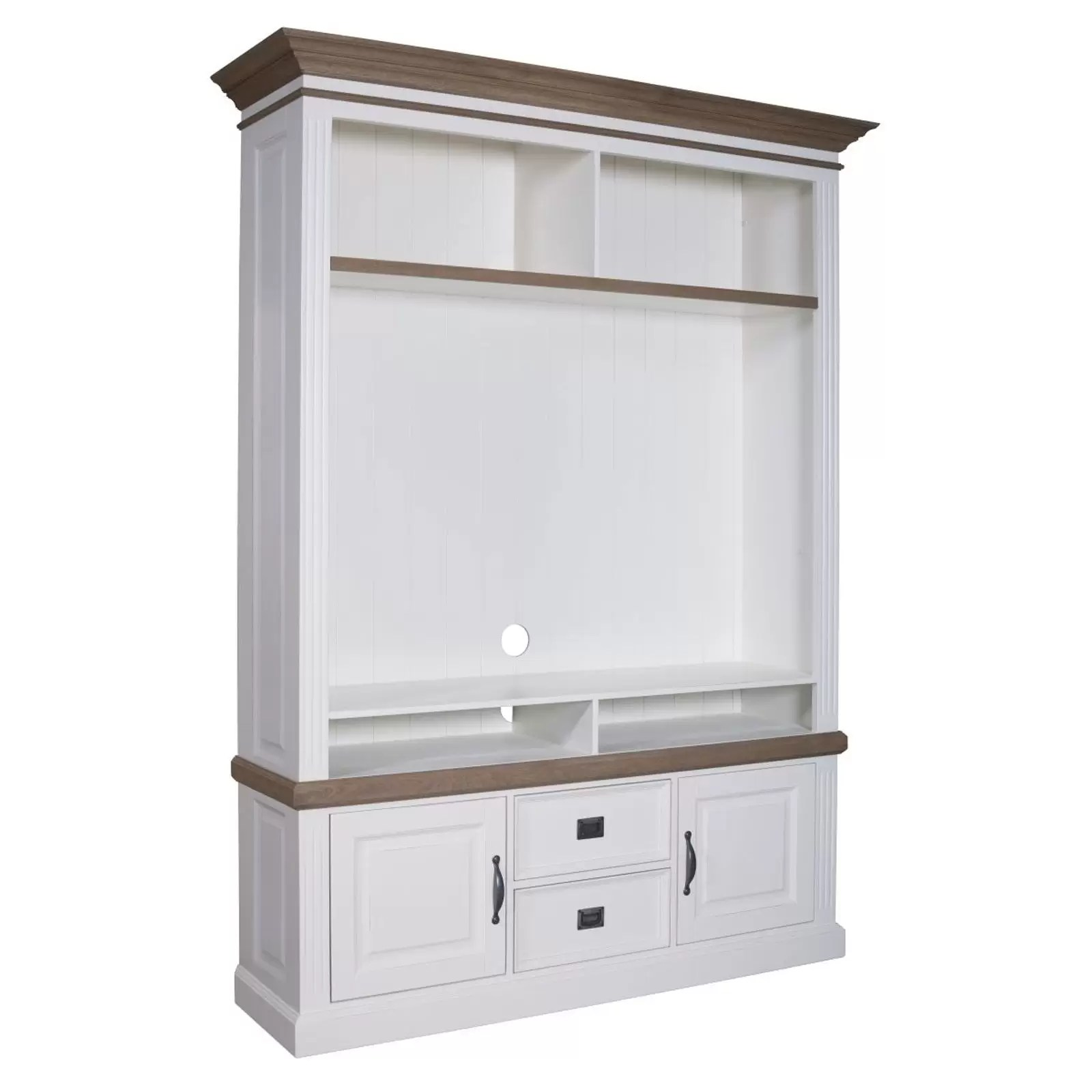 meuble tv avec etagere 2 portes 2 tiroirs chene et pin romance