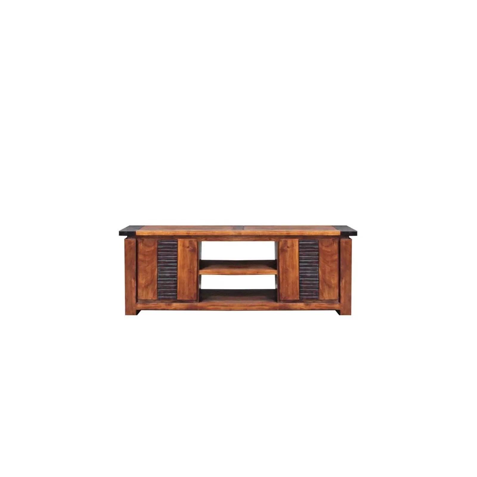meuble tv moon ethnique chic en bois d acacia massif 2 portes et 1 etagere