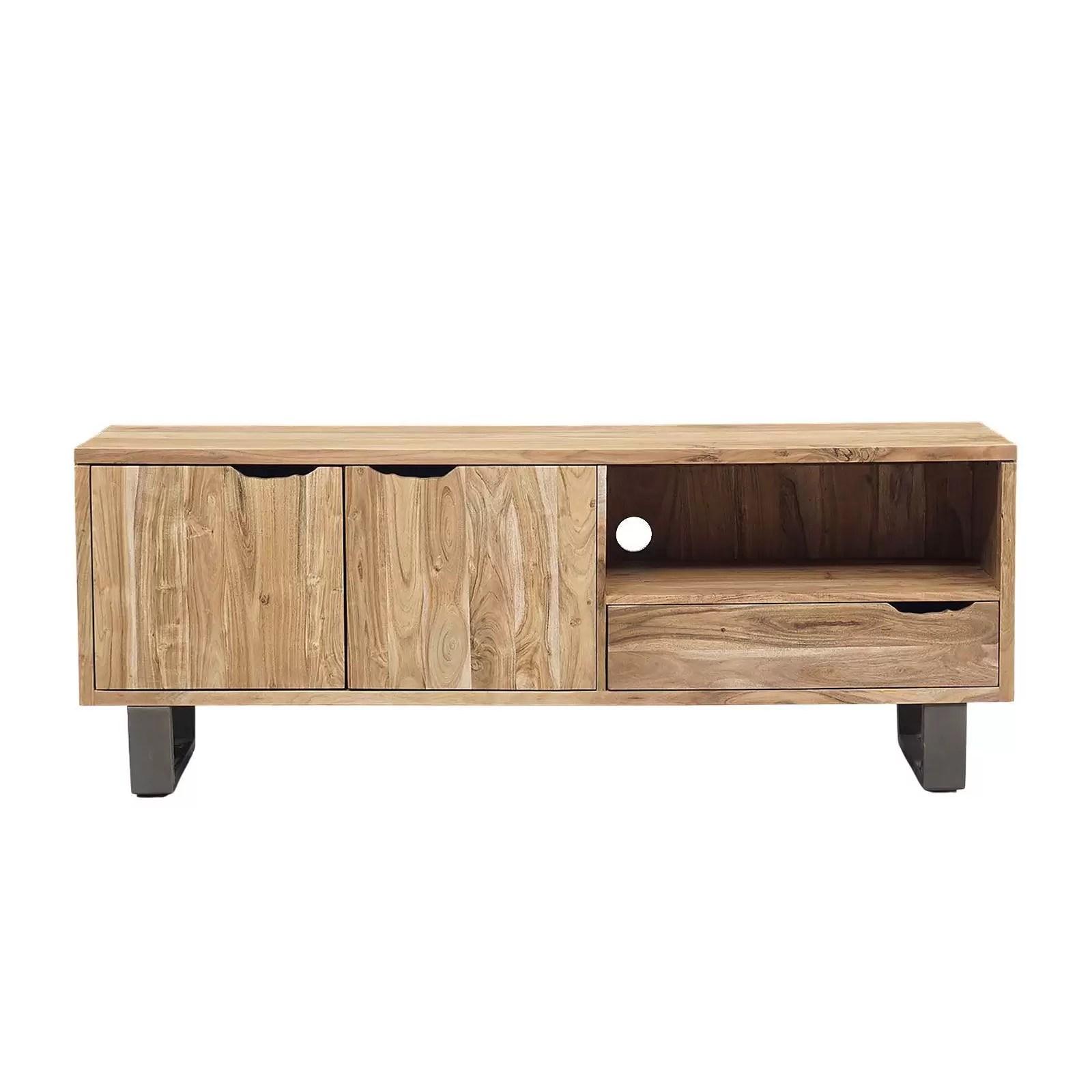 meuble tv bois nature et fer 2p 1t acacia forest
