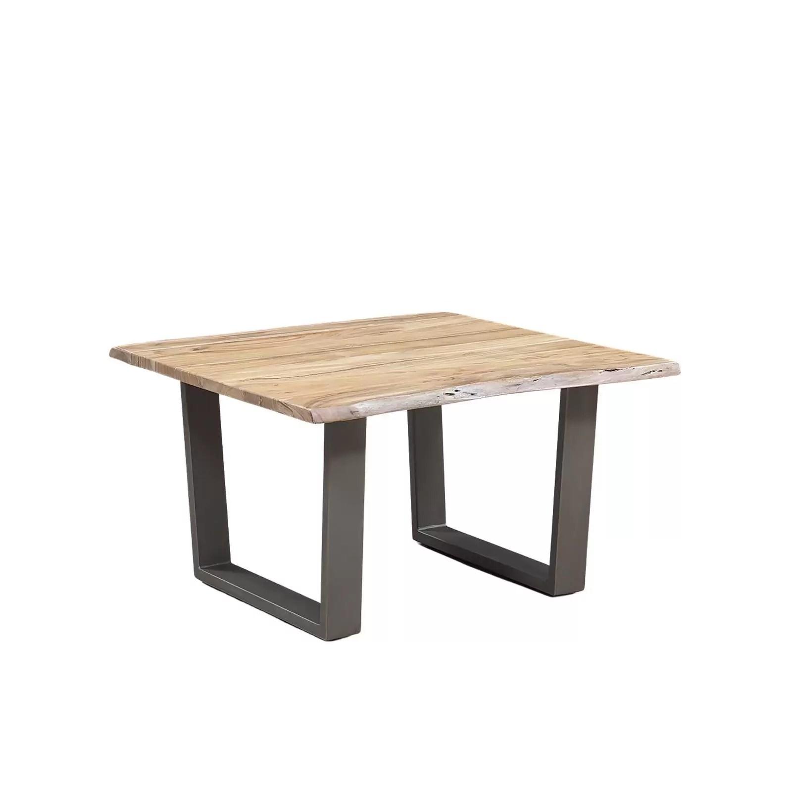 table basse carree bois nature et fer acacia forest