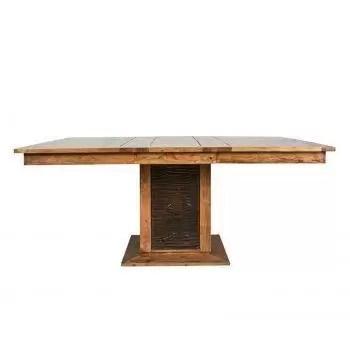 table a manger carree bois sculpte bicolore 130 acacia maya