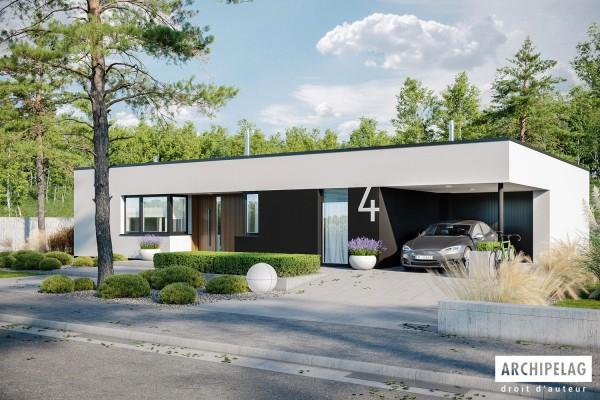 maison ossature bois kit mini 4 modern 125 m garage auvent plain pied toit plat auto construction