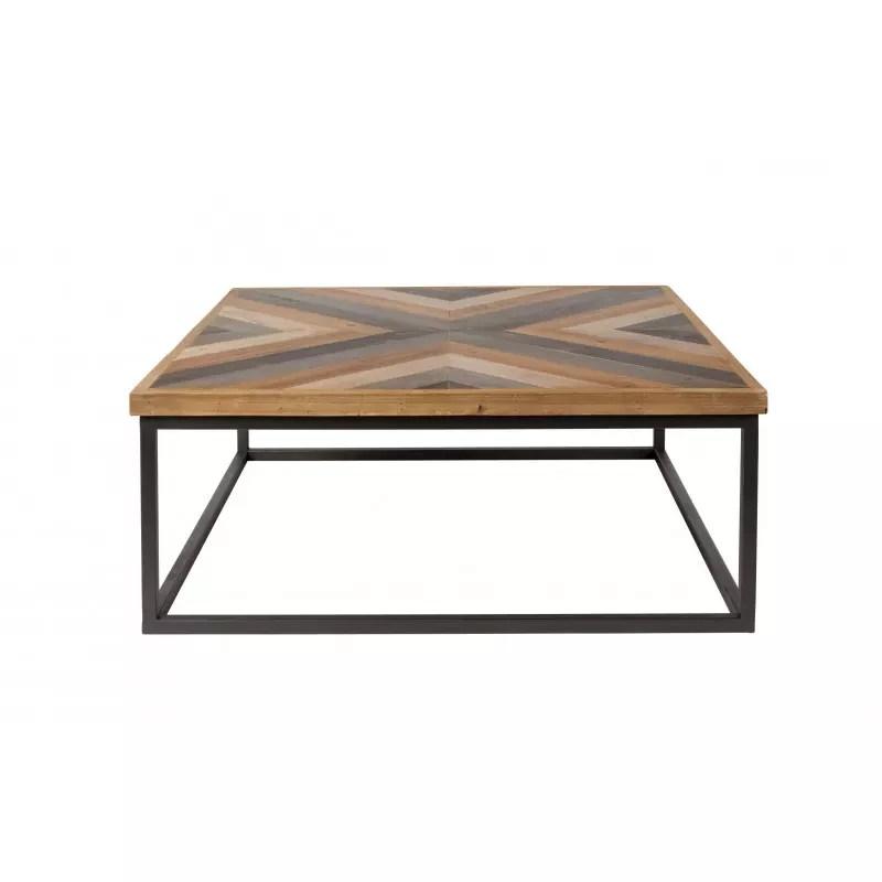 table basse carree bois et metal style industriel joy boite a design
