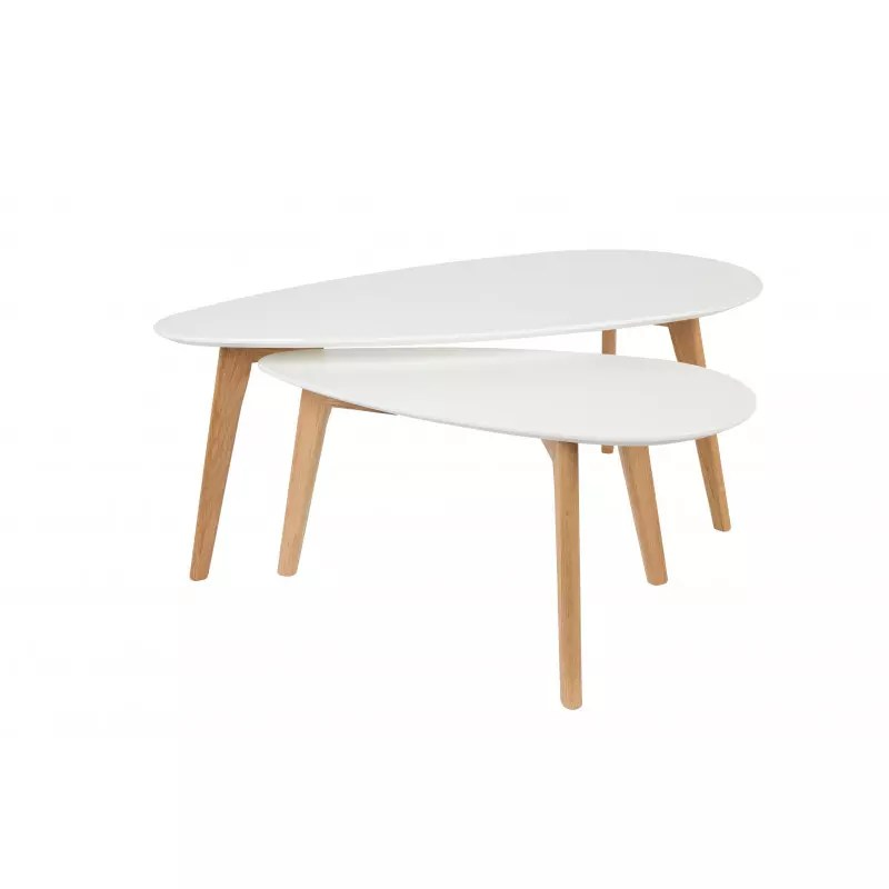 tables basse scandinave drop laquee blanche