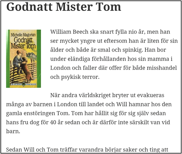 Nostalgitorsdag - Godnatt Mister Tom