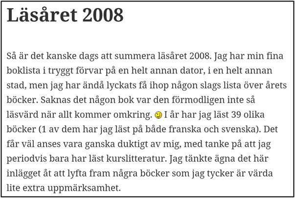 Nostalgitorsdag - Läsåret 2008