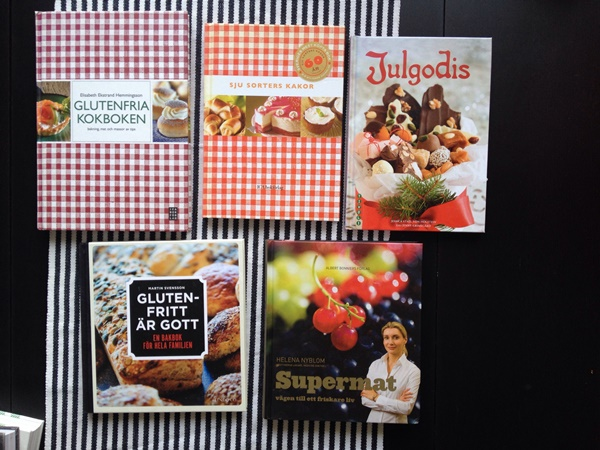 Glutenfria kokboken, Sju sorters kakor, Julgodis, Glutenfritt är gott och Supermat