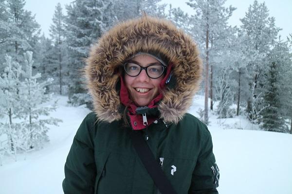 Ute i snön i januari