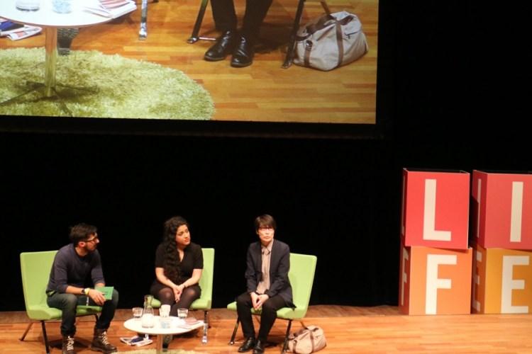 Adrian Perera, Athena Farrokhzad och Maja Lee Langvad samtalar om skrivandets (vita) villkor.