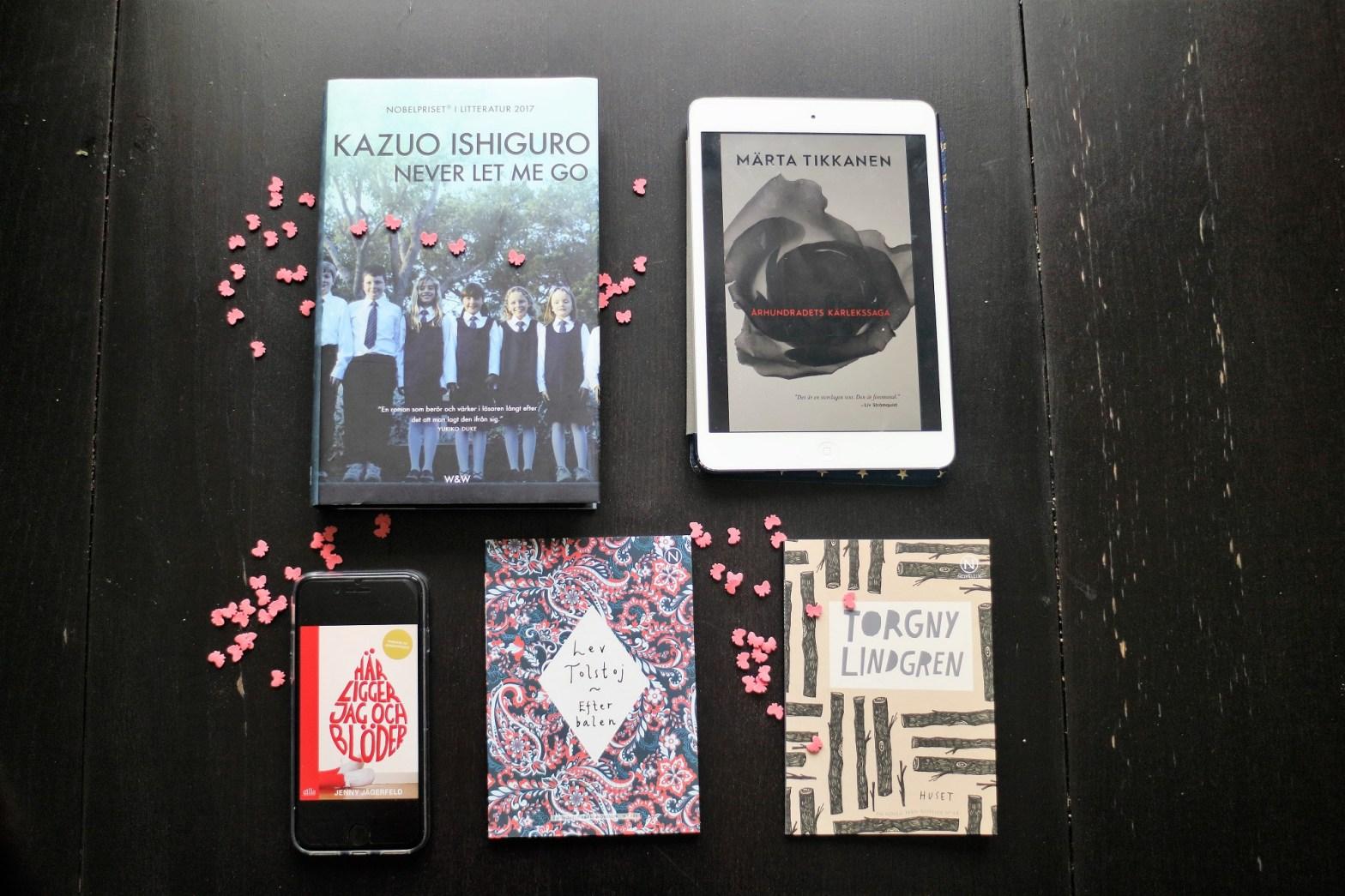 5 romaner om kärlek: Never let me go, Århundradets kärlekssaga, Här ligger jag och blöder, Efter baken, Huset