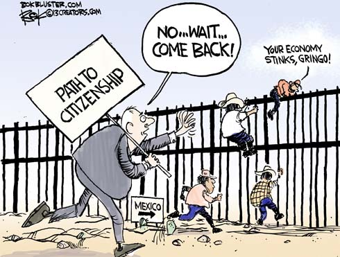 Image result for cartoon of immigrants leaving