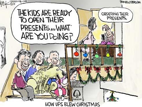 Christmas Delivery Editorial Cartoon