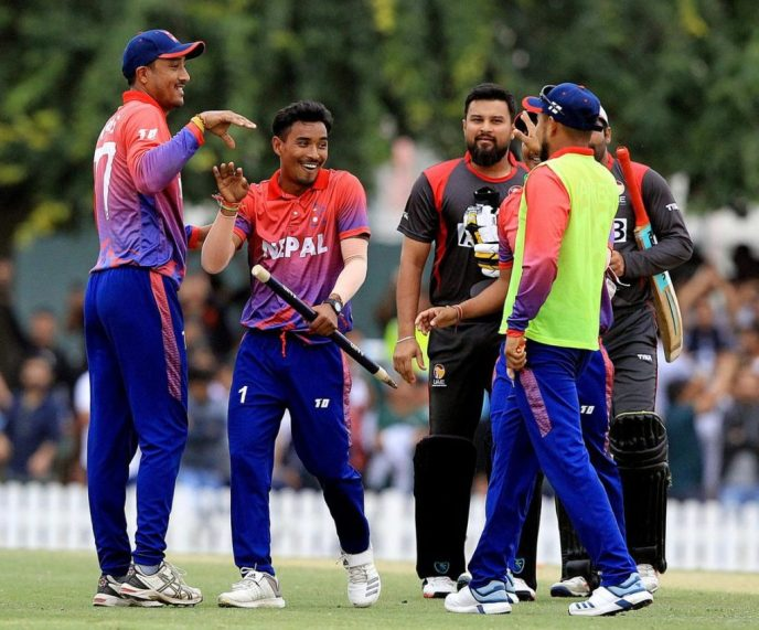Nepal team celebrations after winning Twenty20 Series with UAE