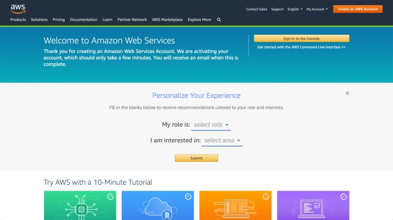 Welcome screen for Amazon Web Services | Boldermail
